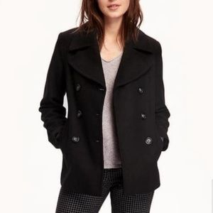 J CREW black 100% wool peacoat front slant pockets